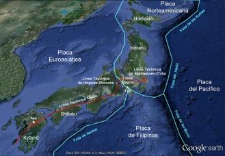 Téctónica de placas de Japón. Observa las dos placas ala derecha de Japón que se introducen por debajo, solapandose y causando la actividad volcánica y sísmica.